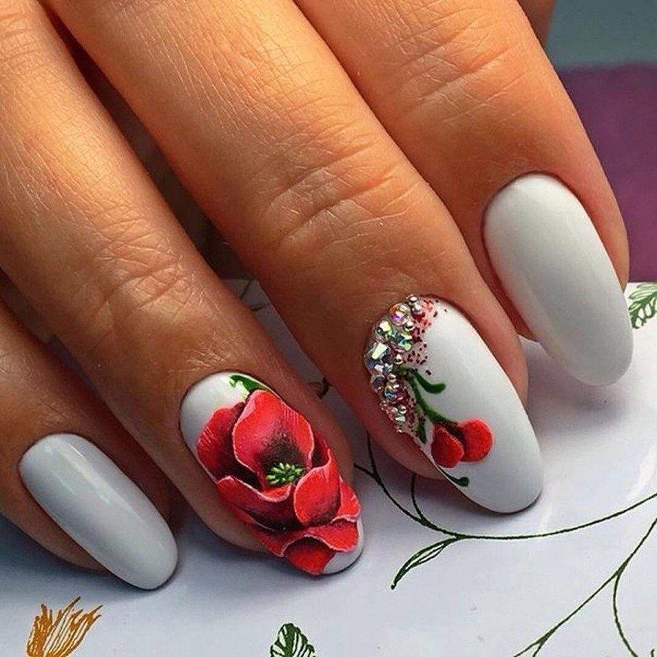 Дизайн ногтей с цветами фото