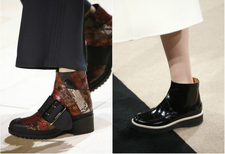 Женские ботинки из модного материала осень-зима 2018-2019