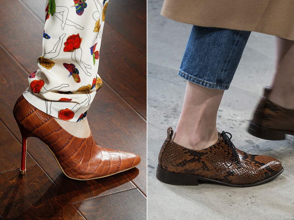 Стильные женские туфли из кожи рептилии осень-зима 2018-2019