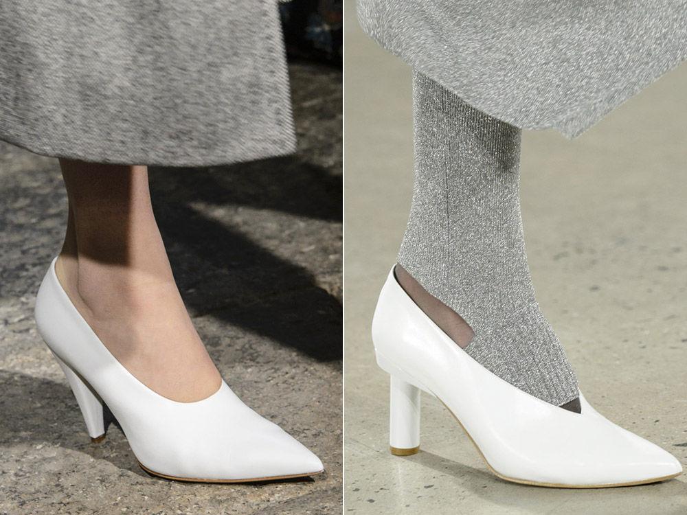 Иодные белые женские туфли осень-зима 2018-2019
