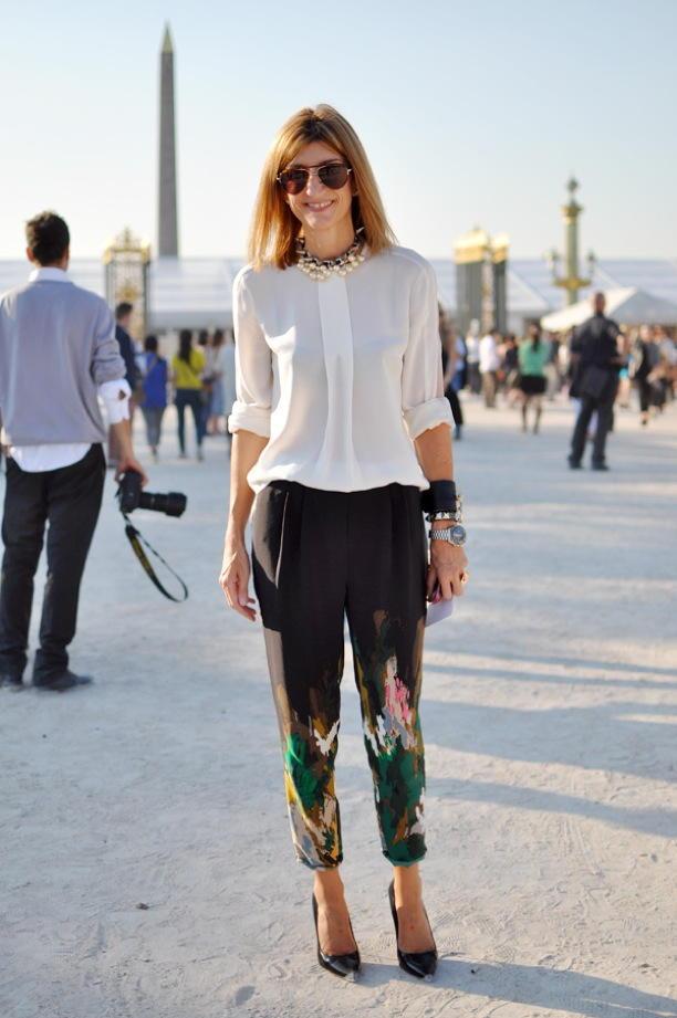Женские брюки с флористическим принтом осень-зима