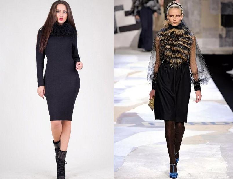 Стильные платья с меховой отделкой осень-зима 2018-2019