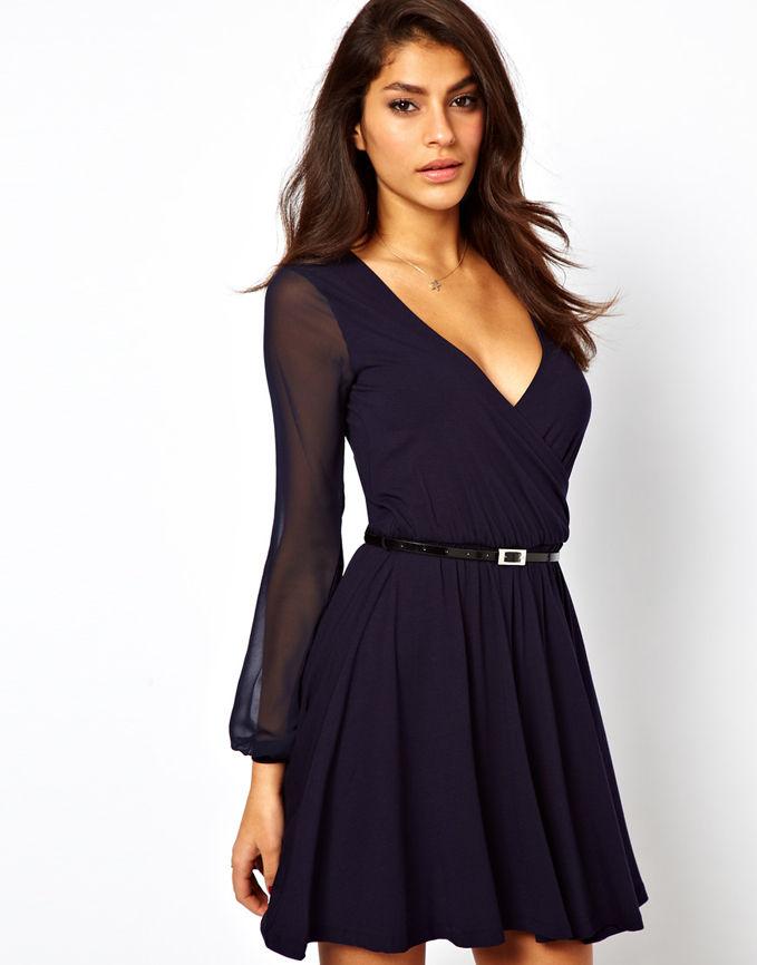 Коктейльное платье с рукавами осень-зима 2018-2019