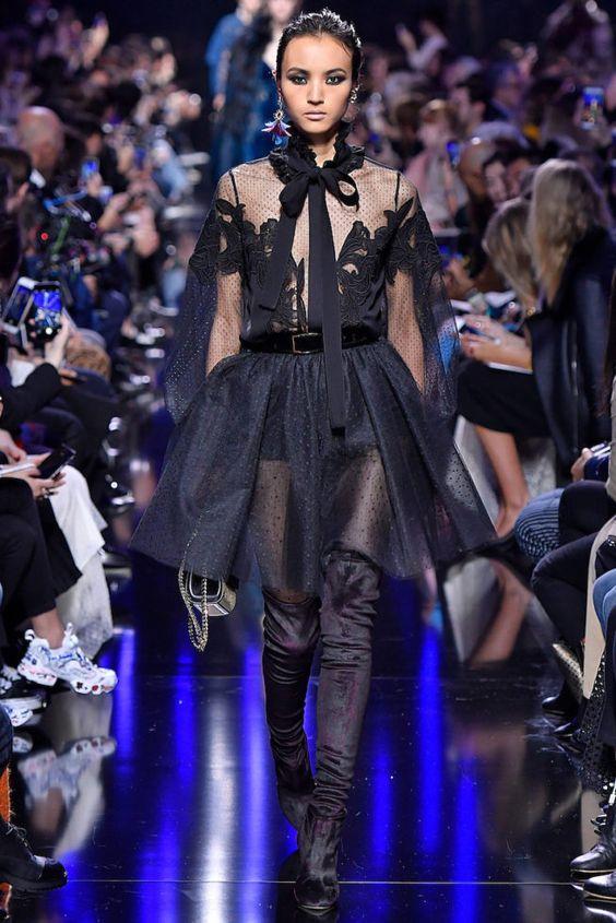 Черное коктейльное платье осень-зима 2018-2019