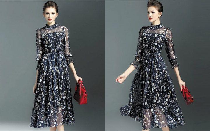 Коктейльное платье в стиле ретро осень-зима 2019-2020