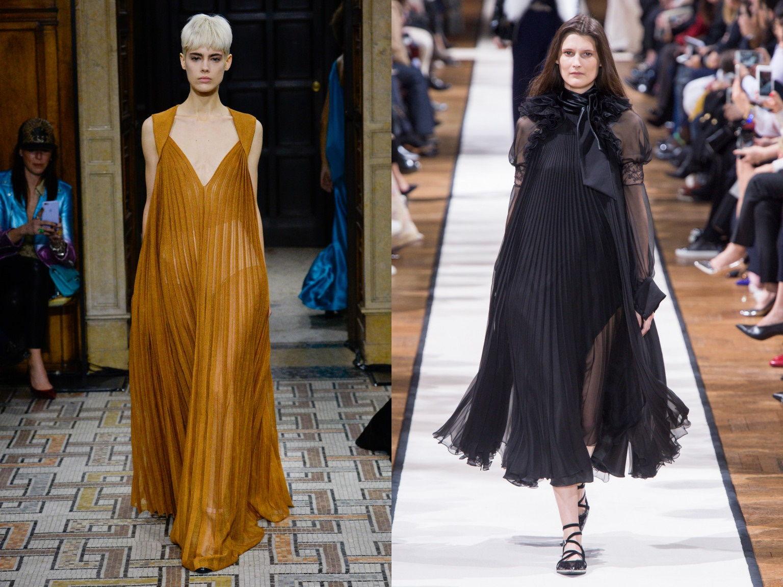 Коктейльные платья из гофрированной ткани осень-зима 2019-2020