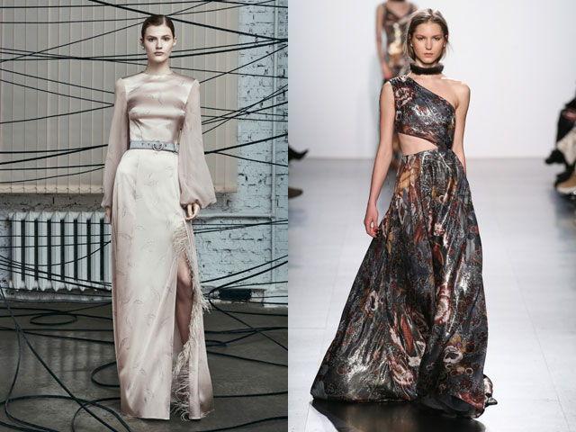 Модные вечерние платья из атласа осень-зима 2018-2019