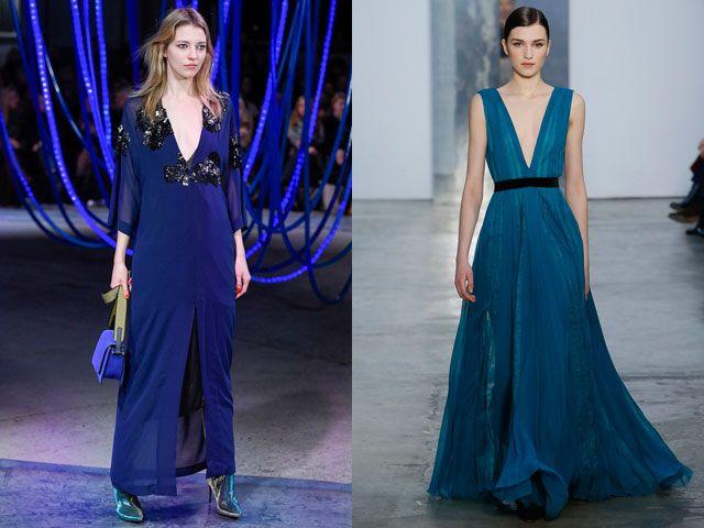 Вечерние платья с глубоким декольте осень-зима 2020-2021