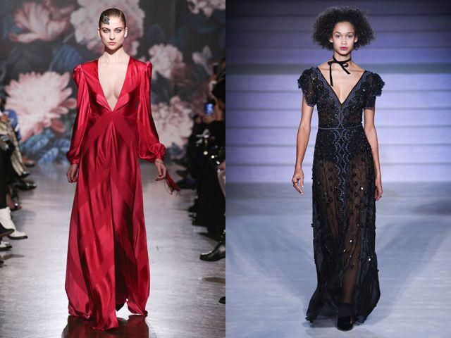 Стильные вечерние платья с глубоким декольте осень-зима 2020-2021