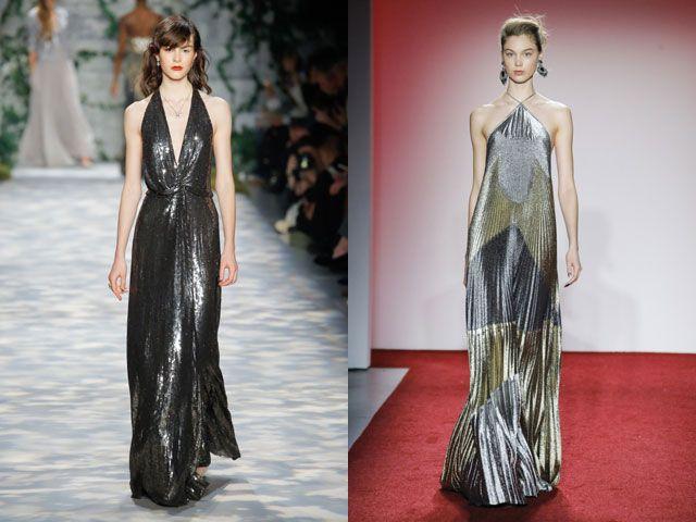 Модные вечерние платья в золоте и серебре осень-зима 2018-2019
