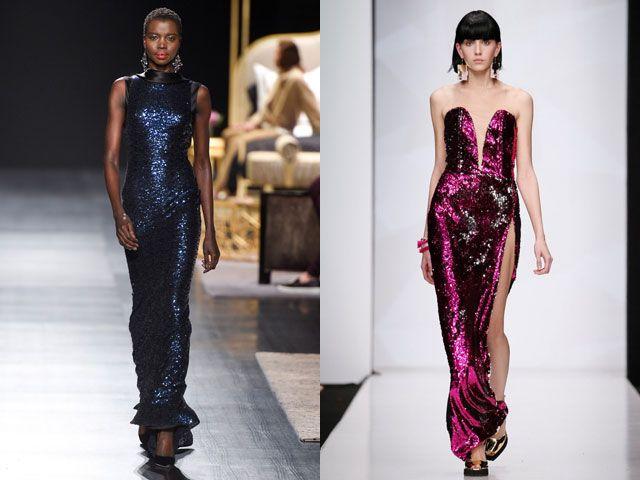 Модные вечерние платья с пайетками осень-зима 2018-2019