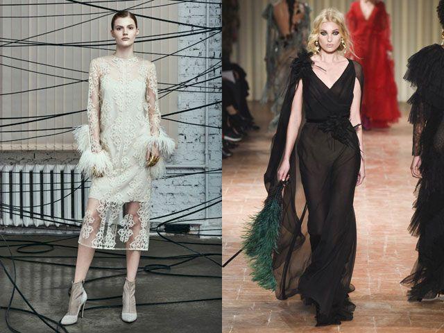 Модные вечерние платья с перьями осень-зима 2019-2020