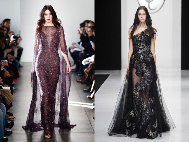 Модные вечерние платья с прозрачными вставками осень-зима 2018-2019