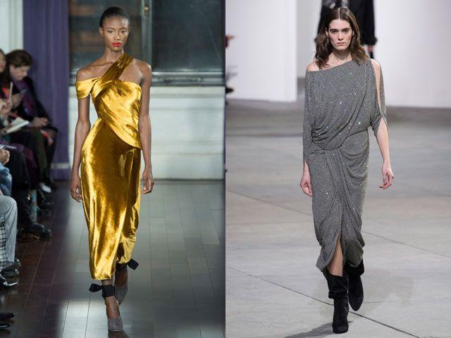 Вечерние платья со сложной драпировкой осень-зима 2018-2019
