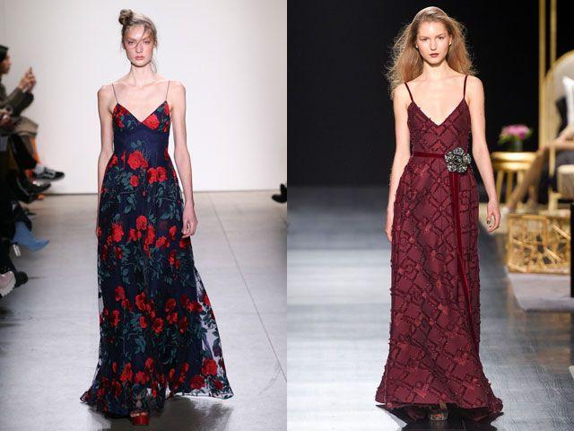 Модные вечерние платья на тонких бретелях осень-зима 2018-2019