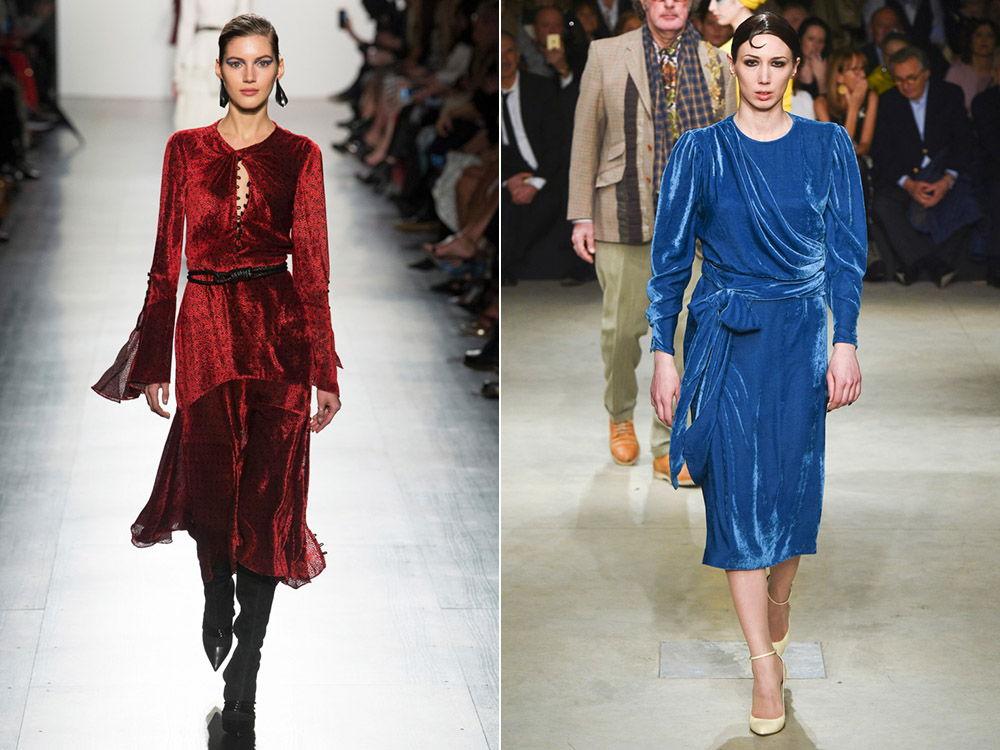 Модные миди -платья из бархата осень-зима 2018-2019