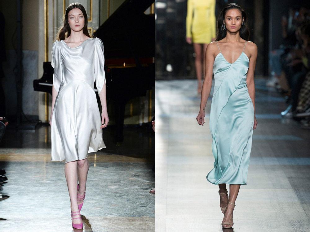 Повседневные платья и платья в бельевом стиле из атласа осень-зиа 2018-2019