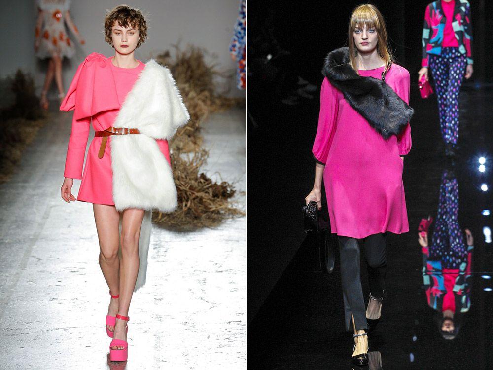 Модные платья с меховыми горжетками осень-зима 2019-2020