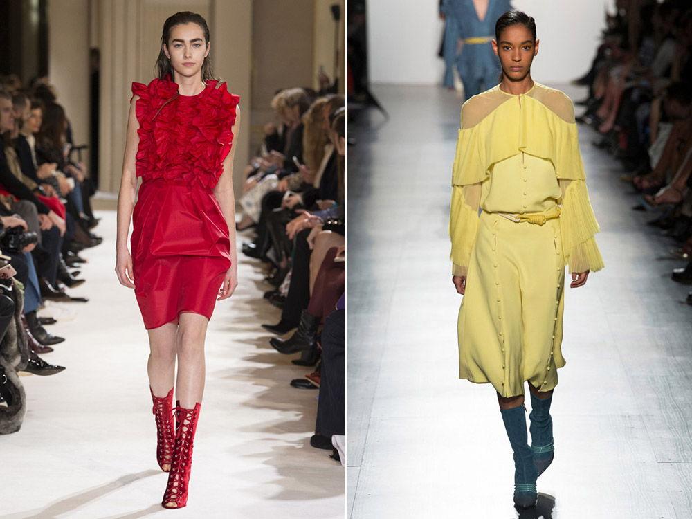 Модные платья с воланами и рюшами осень-зима 2018-2019