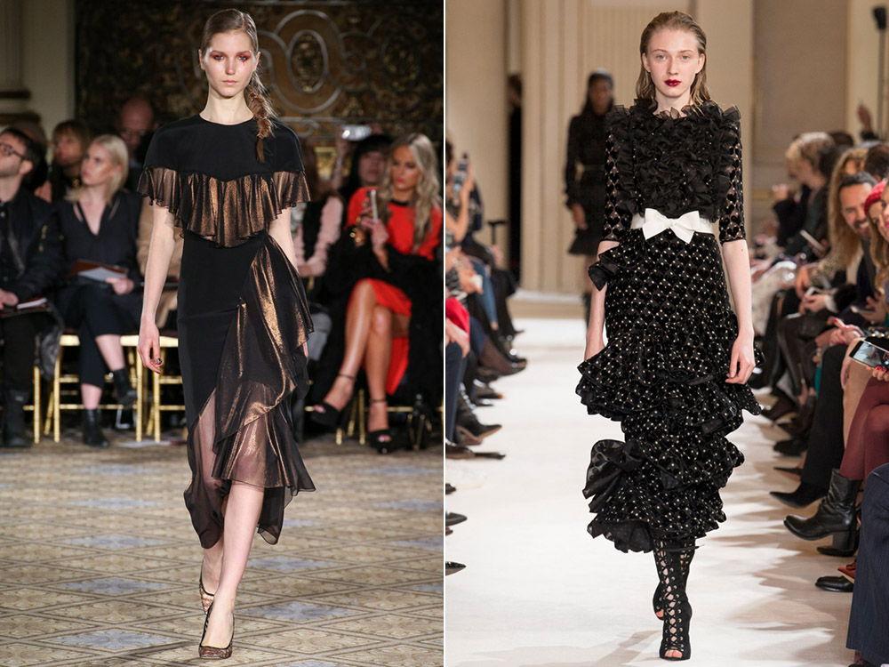 Модные модели платьев с рюшами и воланами осень-зима 2018-2019