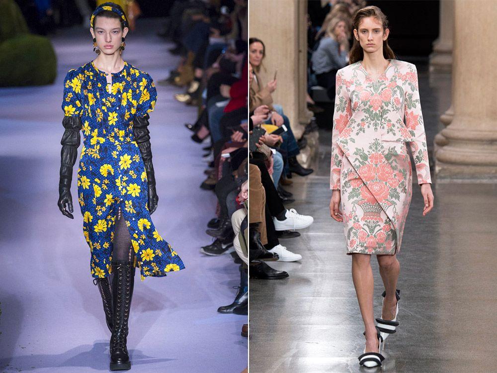 Модные платья с цветочным принтом осень-зима 2018-2019
