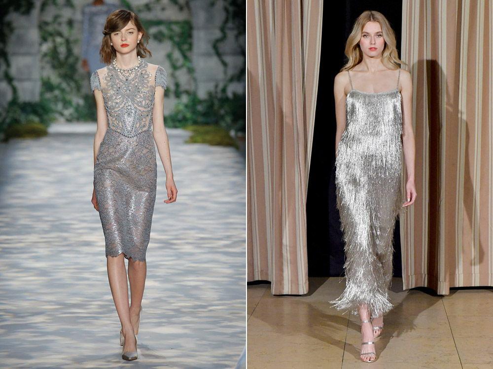 Стильные платья холодного серебристого оттенка осень-зима 2019-2020