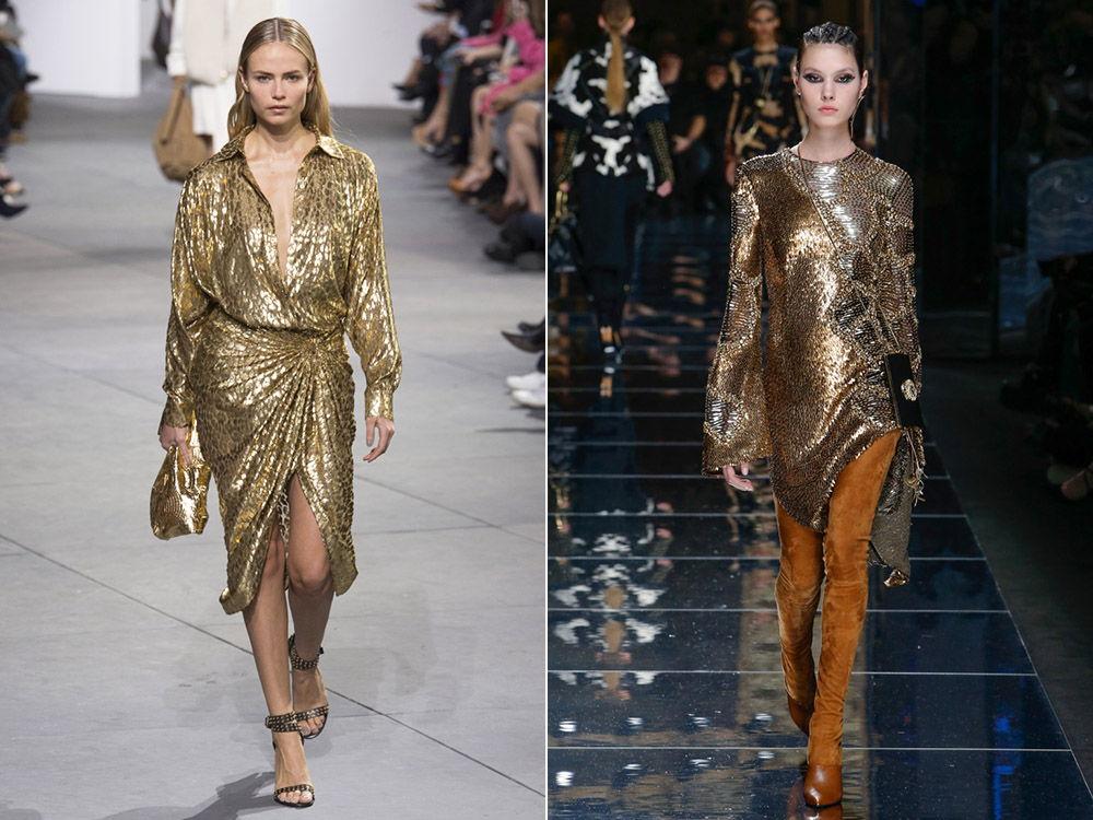 Стильные платья золотого оттенка осень-зима 2019-2020