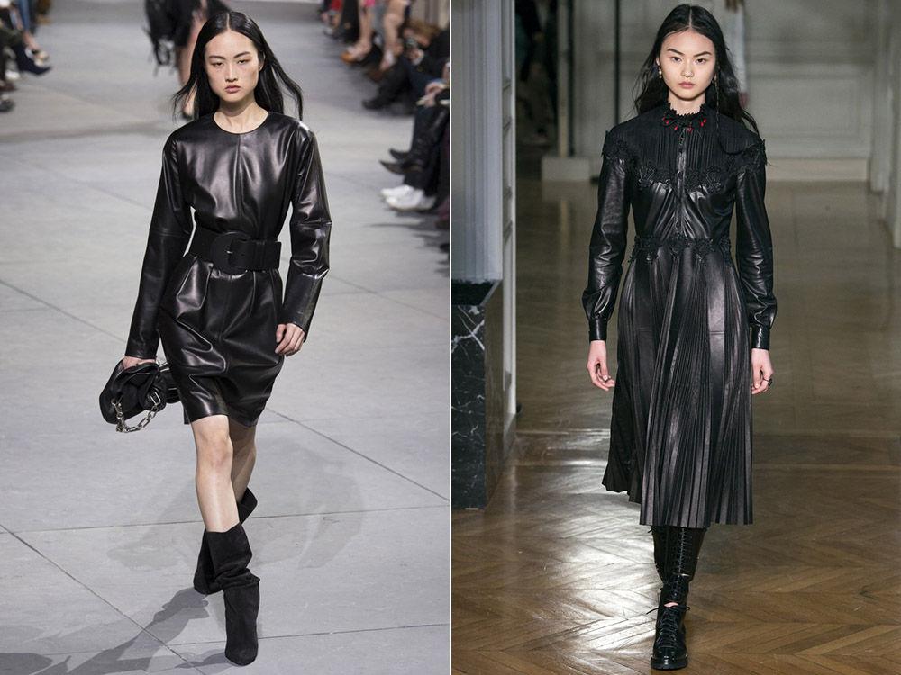 Модные платья из кожи осень-зима 2018-2019