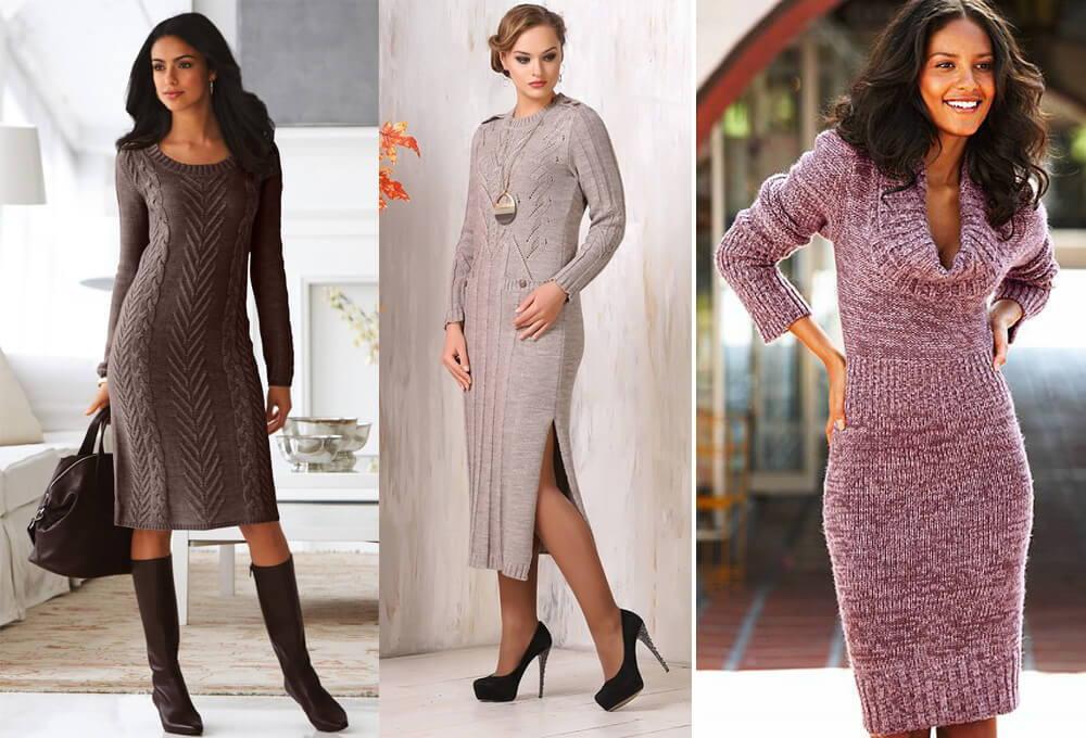 Модные вязаные платья осень-зима 2019-2020