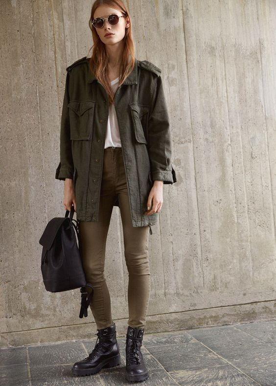 Женские джинсы в стиле милитари