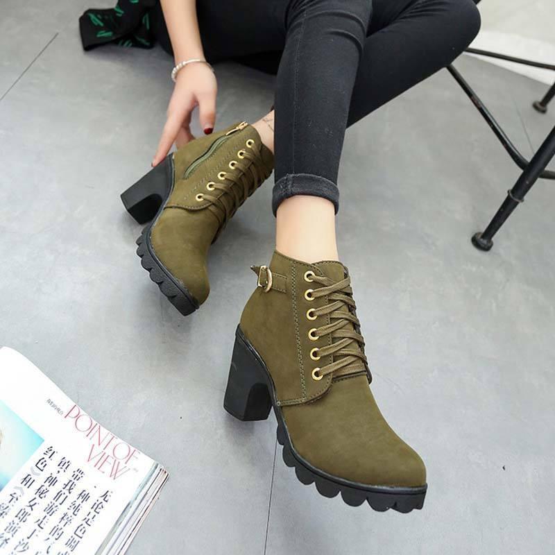 Женские ботинки на толстом каблуке осень-зима 2018-2019