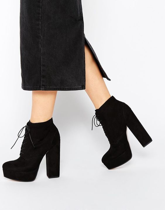 Женские замшевые ботинки на толстом каблуке осень-зима 2019-2020