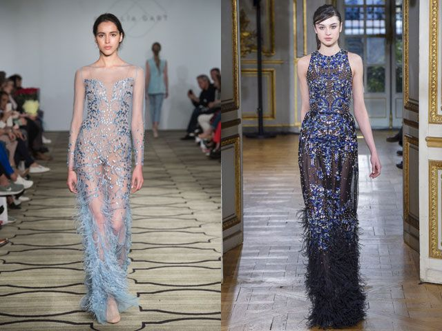 Стильные вечерние платья с перьями осень-зима 2018-2019
