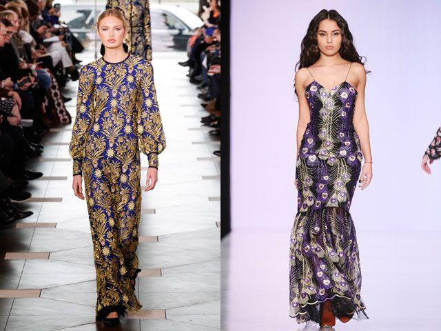 Стильные вечерние платья с модным принтом осень-зима 2018-2019