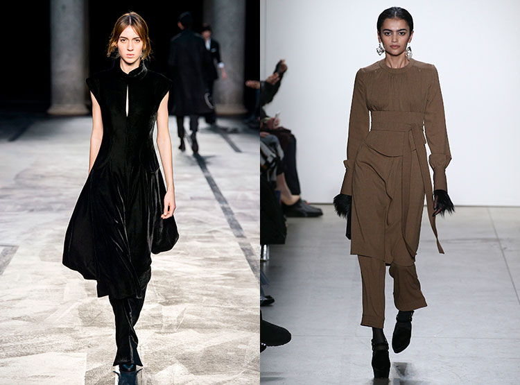 Уникальное сочетание - платья с бюрбками - тренд осень-зима 2018-2019