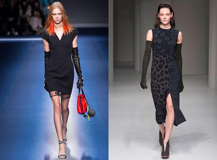 Платья с длинными перчатками осень -зима 2018-2019