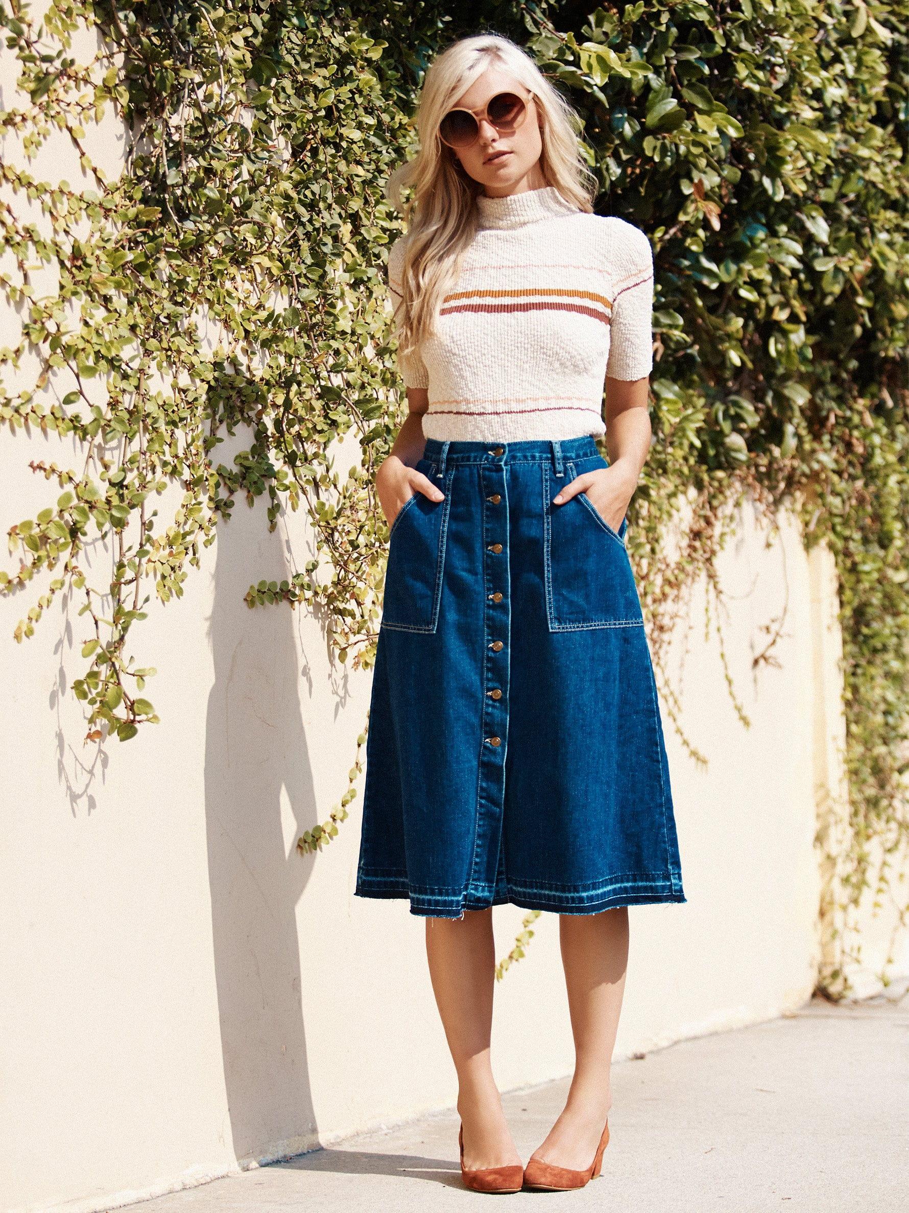 Джинсовая юбка ниже колен