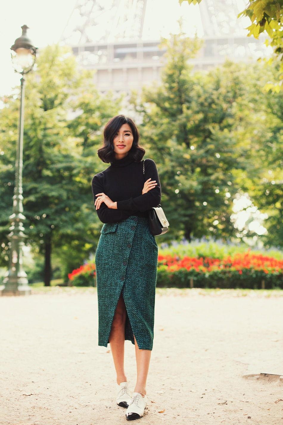 Зеленая юбка -карандаш с запахом