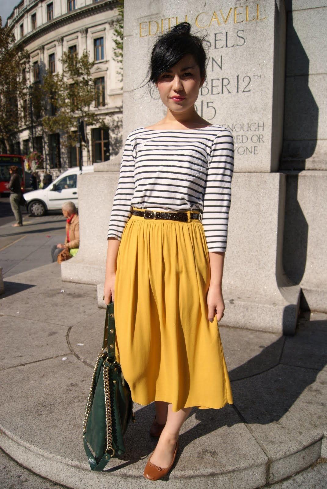 Желктая длинная юбка