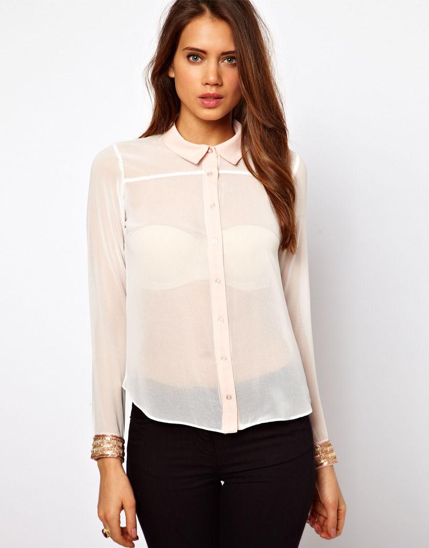 Модные женские прозрачные рубашки осень-зиа 2018-2019