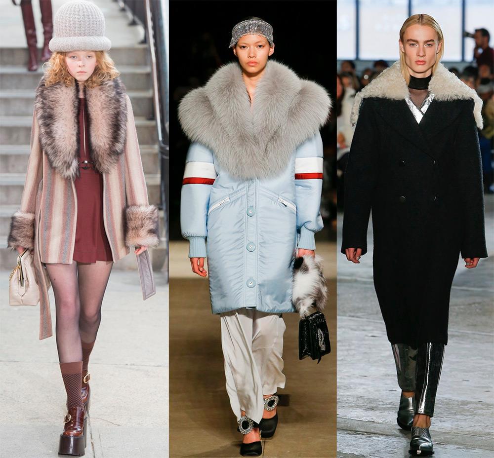 Модное пальто с большим меховым воротником осень-зима 2018-2019