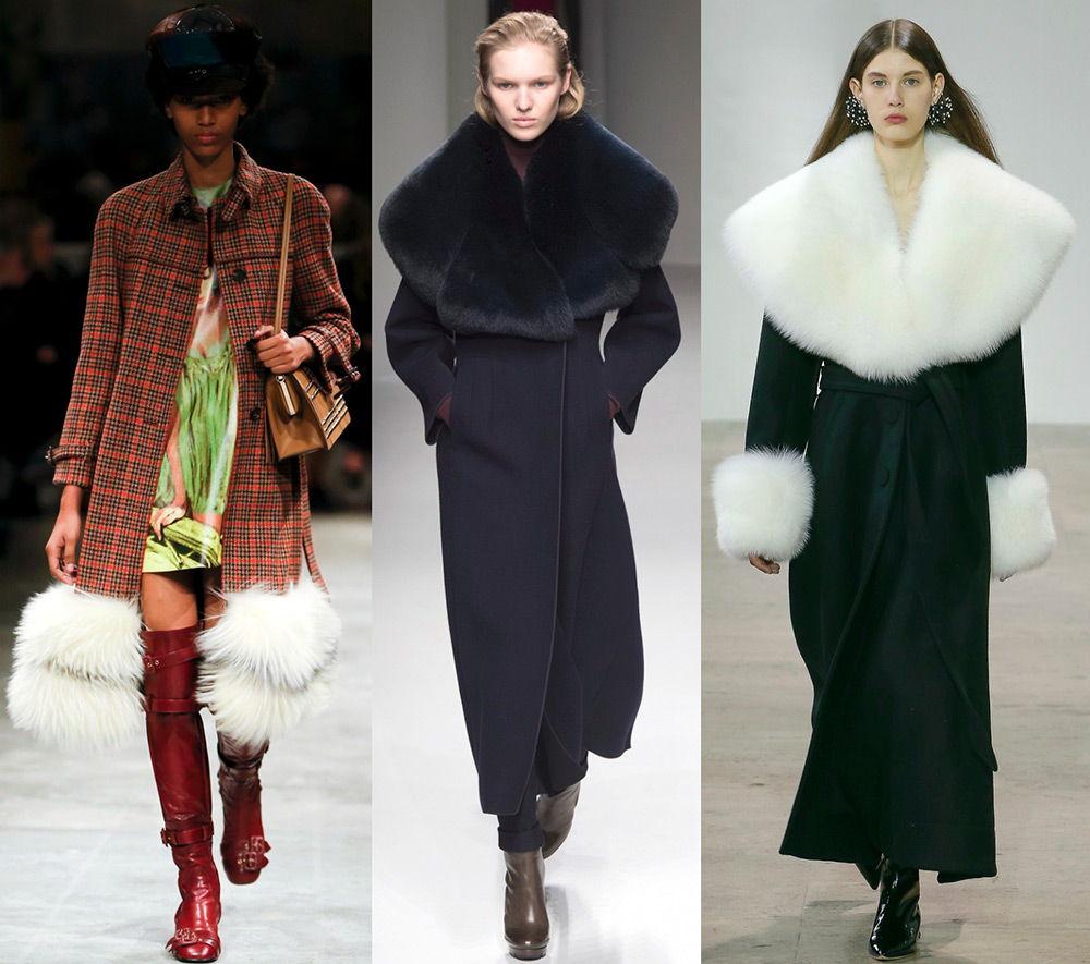Пальто с меховыми рукавами осень-зима 2018-2019