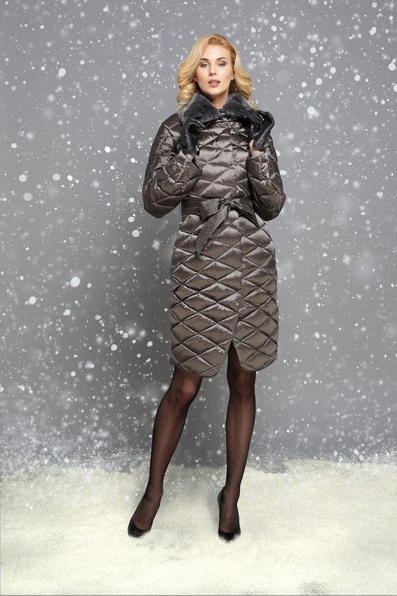 Модный стеганый женский пуховик осень-зима 2019-2020