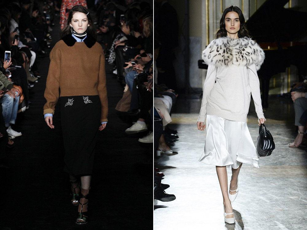 свитера с меховой отделкой осень-зима 2019-2020