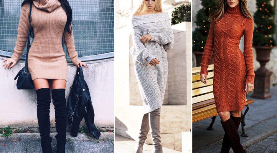 Платье-свитер осень-зима 2018-2019