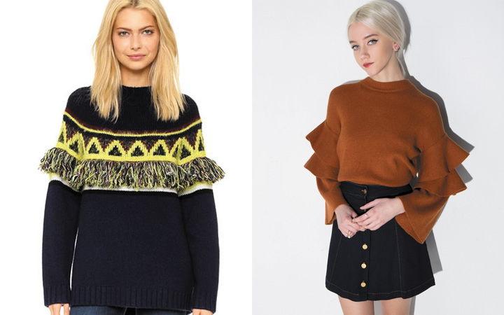 Стильные женские свитера с отдельными объемными частями осень-зима 2018-2019