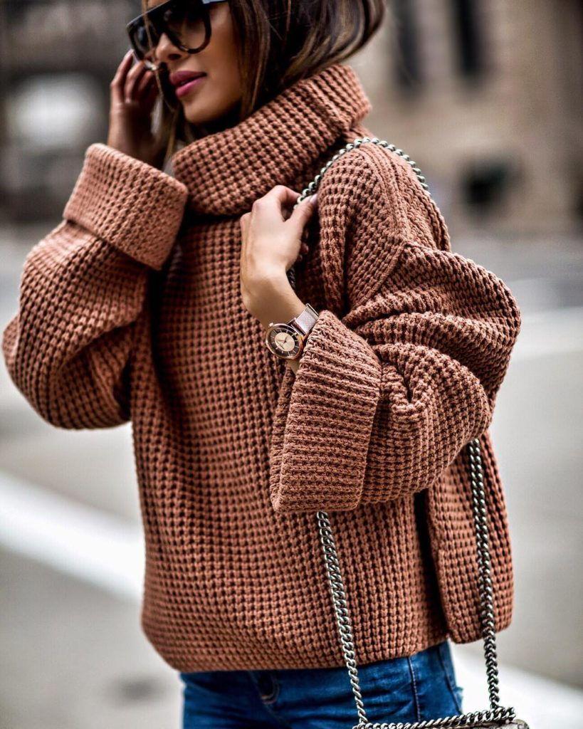 Модная кофта крупной вязкой осень-зима 2019-2020