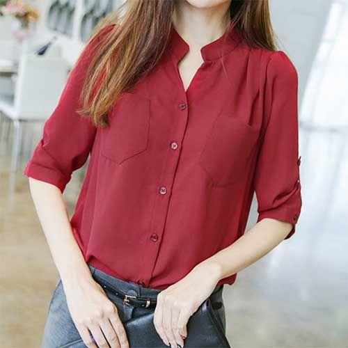 Женская рубашка с укороченными рукавами осень-зима 2020-2021