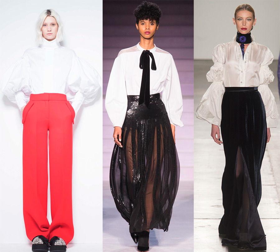Женские белые рубашки с объемными рукавами осень-зима 2020-2021
