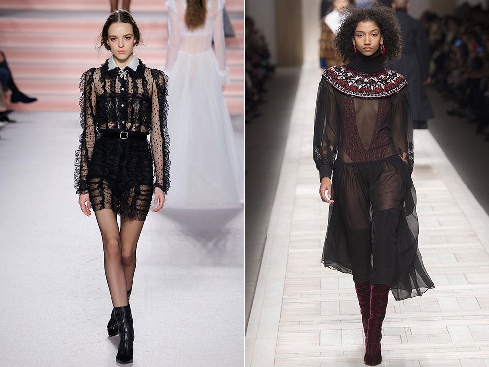 Платья из прозрачнй ткани - трен сезона осень-зима